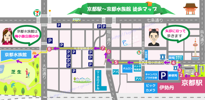 京都駅から京都水族館までの地図
