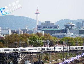 京都鉄道博物館から見える京都タワー