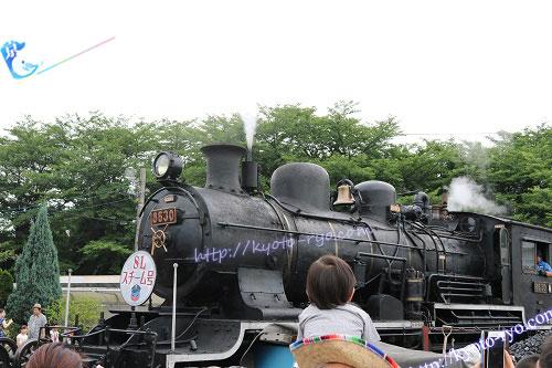 煙を上げる蒸気機関車