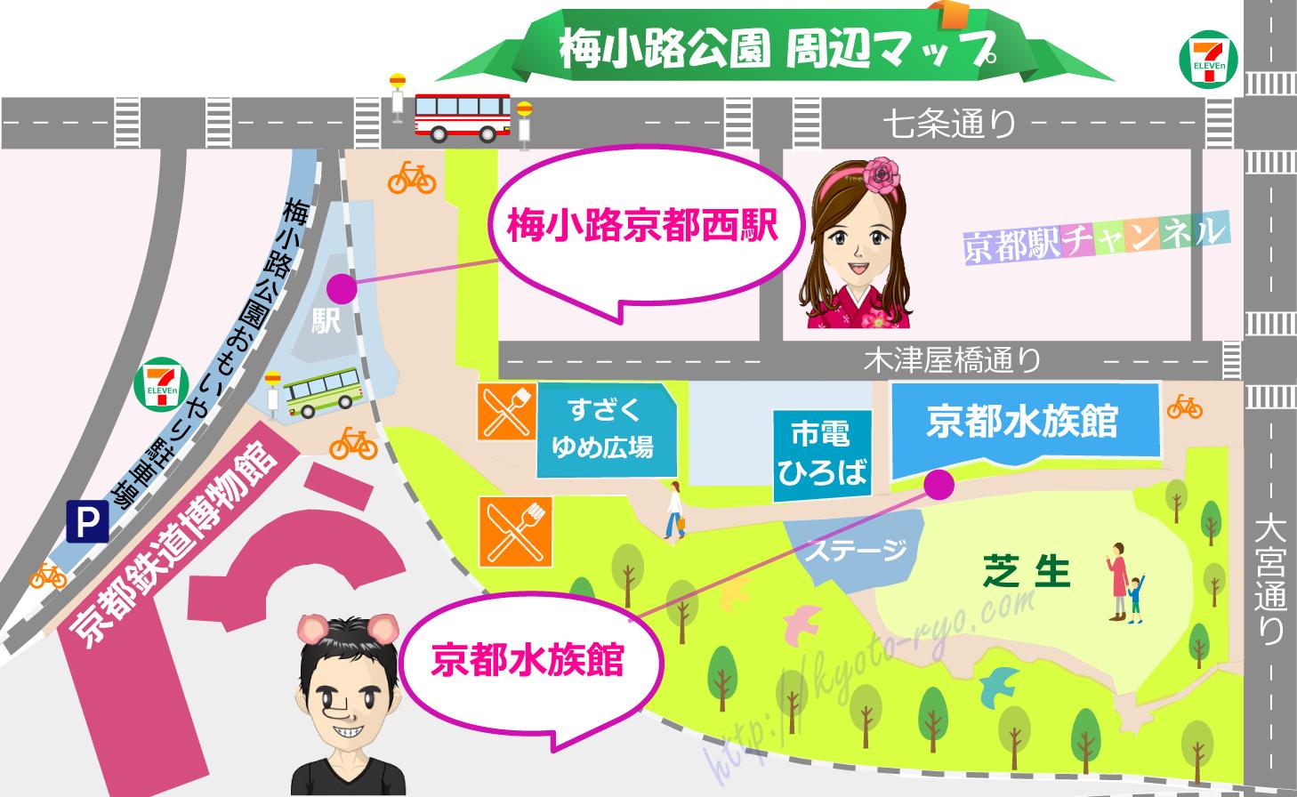 京都水族館周辺のホテルマップ
