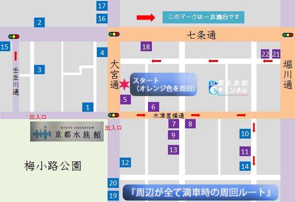 京都水族館周辺の駐車場が満車時の周回ルート