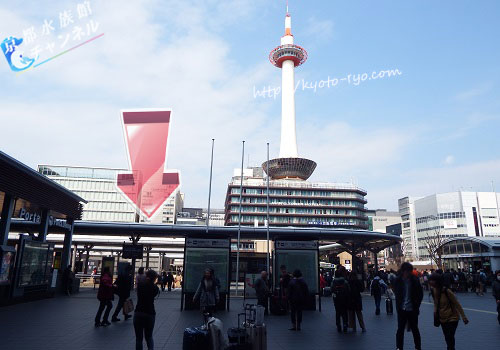 京都駅前のバス乗り場
