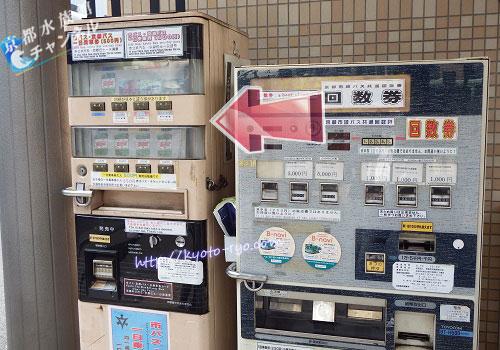 市バスの1日乗車券の自販機