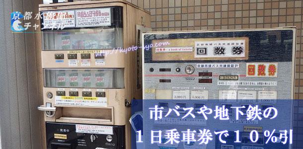 京都市の市バスの1日乗車券の自動販売機