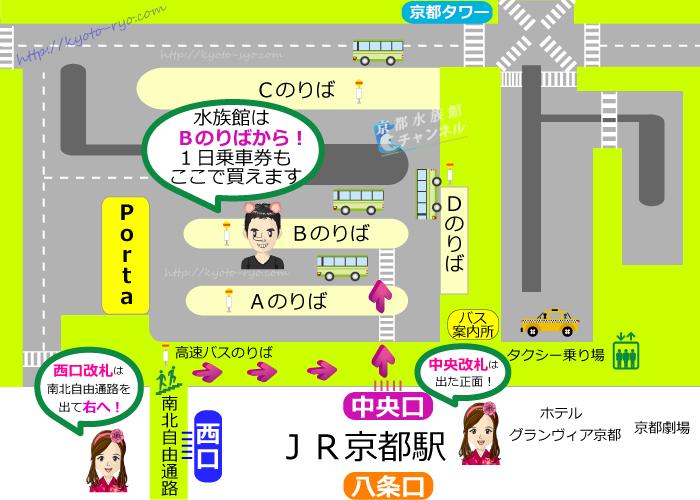 京都駅前のバスのりばマップ