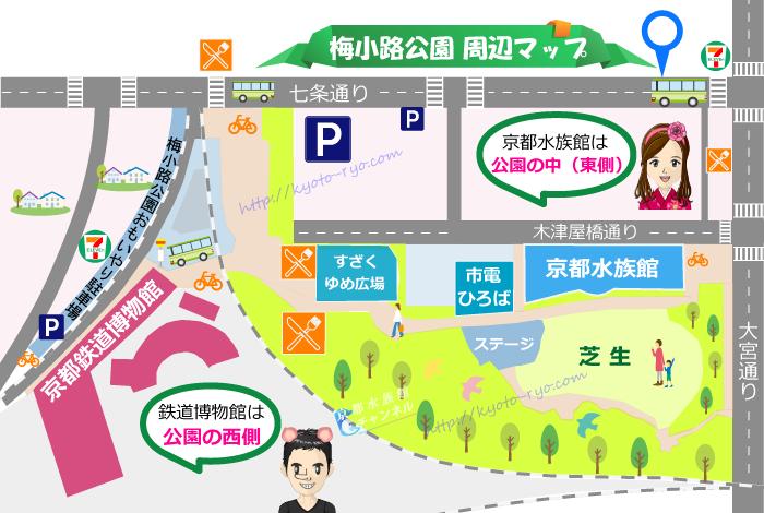 梅小路公園の周辺地図